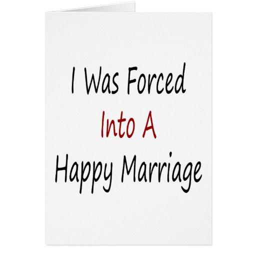 Era forzado en una boda feliz tarjetas