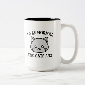 Era hace dos gatos normales taza de café de dos colores
