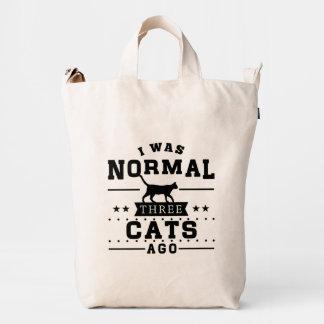 Era hace tres gatos normales bolsa de lona duck