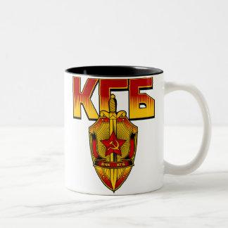 Era rusa del soviet de la insignia de KGB Taza De Café De Dos Colores