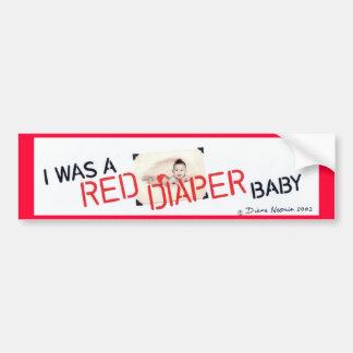 Era un bebé rojo del pañal pegatina para auto