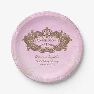 Érase una vez fiesta de la princesa cumpleaños plato de papel de 7 pulgadas