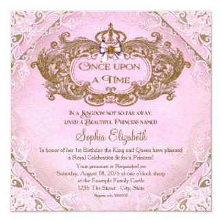 Érase una vez princesa 1r cumpleaños invitación 13,3 cm x 13,3cm