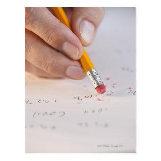 Erasing incorrect numbers postcard