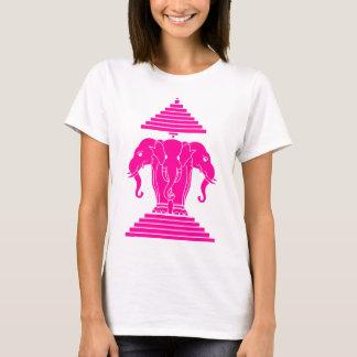 Erawan Pink Three Headed Elephant Lao / Laos Flag T-Shirt
