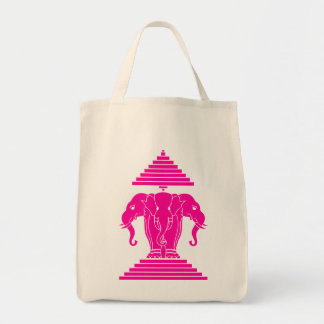 Erawan Pink Three Headed Elephant Lao / Laos Flag Tote Bag