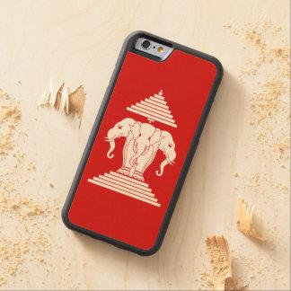 Erawan Three Headed Elephant Lao / Laos Flag Carved Maple iPhone 6 Bumper Case