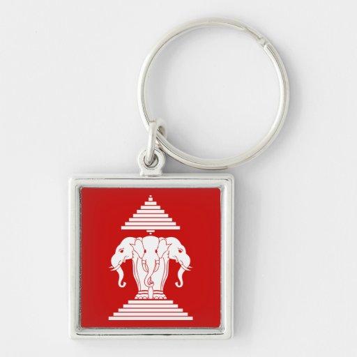 Erawan Three Headed Elephant Lao / Laos Flag Silver-Colored Square Keychain