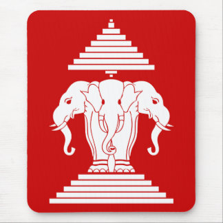 Erawan Three Headed Elephant Lao / Laos Flag Mouse Pad