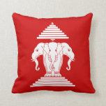 Erawan Three Headed Elephant Lao / Laos Flag Pillows