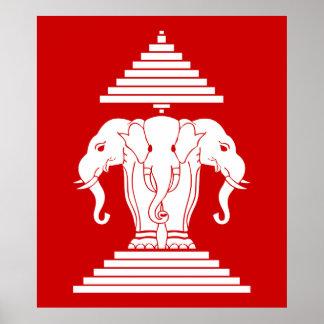 Erawan Three Headed Elephant Lao / Laos Flag Poster