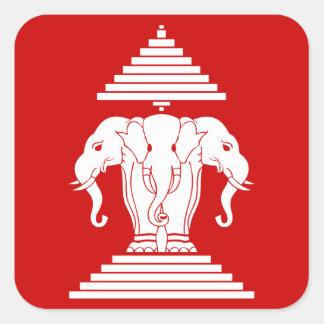Erawan Three Headed Elephant Lao / Laos Flag Square Sticker