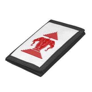 Erawan Three Headed Elephant Lao / Laos Flag Trifold Wallet