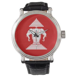 Erawan Three Headed Elephant Lao / Laos Flag Wrist Watch