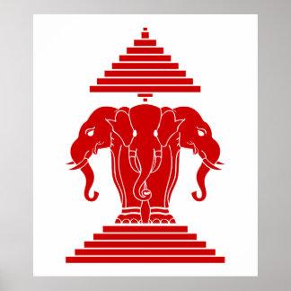 Erawan tres dirigió Lao del elefante/la bandera de Posters
