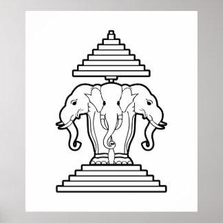 Erawan tres dirigió Lao del elefante/la bandera de Poster