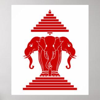 Erawan tres dirigió Lao del elefante/la bandera de Impresiones
