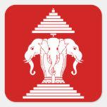 Erawan tres dirigió Lao del elefante/la bandera de Calcomanía Cuadrada Personalizada