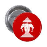 Erawan tres dirigió Lao del elefante/la bandera de Pin Redondo De 2 Pulgadas