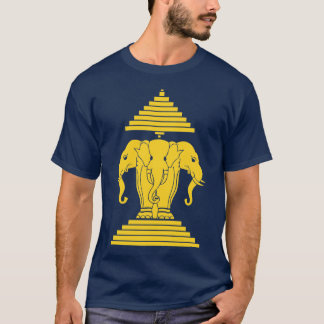 Erawan Yellow 3 Headed Elephant Lao / Laos Flag T-Shirt