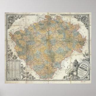 Erben's map of Bohemia, 1883 Czech Republic Poster