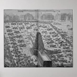 Erección del obelisco egipcio antiguo poster