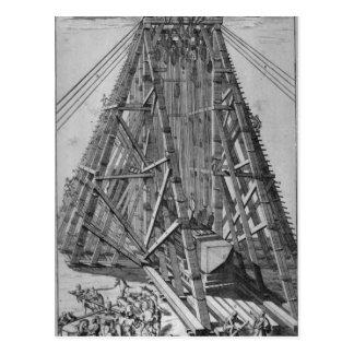 Erección del obelisco egipcio antiguo tarjeta postal