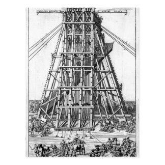 Erección del obelisco egipcio antiguo postal