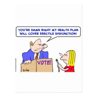 erectile disfunction politician health plan postcard