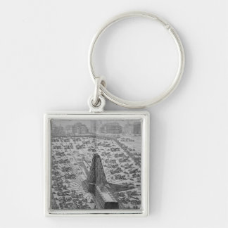 Erecting the Ancient Egyptian Obelisk Silver-Colored Square Keychain