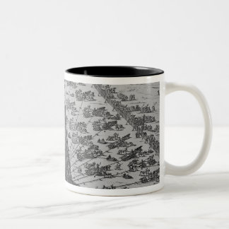 Erecting the Ancient Egyptian Obelisk Two-Tone Coffee Mug