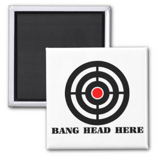 Ergonomic Stress Relief: Bang Head Here 2 Inch Square Magnet