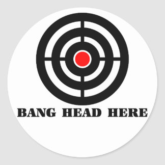 Ergonomic Stress Relief: Bang Head Here Classic Round Sticker