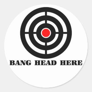 Ergonomic Stress Relief: Bang Head Here Classic Round Sticker