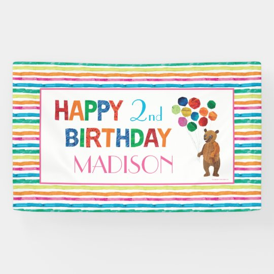 Eric carle beary girl striped birthday banner zazzle eric carle beary girl striped birthday banner filmwisefo