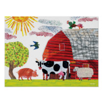 Eric Carle   Colorful Farm Scene Poster