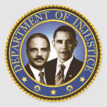Eric Holder and the Department of Injustice Classic Round Sticker