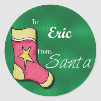 Eric Personalized Christmas Label48 Classic Round Sticker