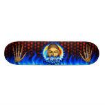 Eric skull blue fire and flames skateboard design.