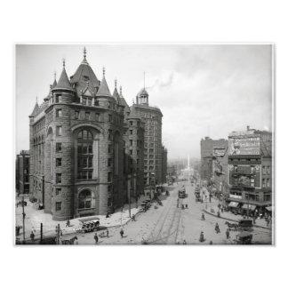 Erie County Savings Bank ~ Main & Niagara St. 1908 Photo Print
