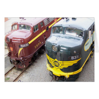 ERIE E8A 833 and PRR E8A 5809 at Steamtown Greeting Cards