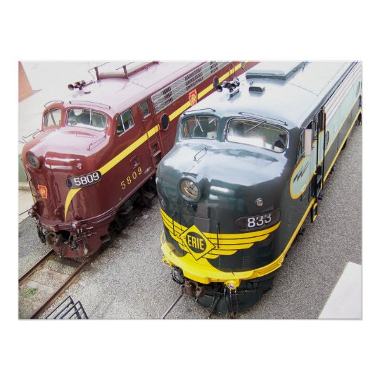 ERIE E8A 833 and PRR E8A 5809 at Steamtown Poster