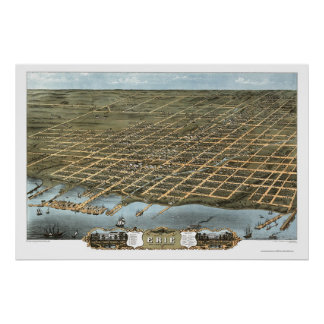 Erie PA Panoramic Map - 1870 Posters
