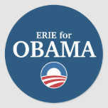 ERIE para el personalizado de Obama su ciudad pers Pegatinas