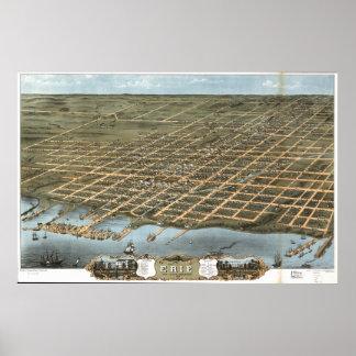 Erie Pennsylvania 1870 Antique Panoramic Map Poster