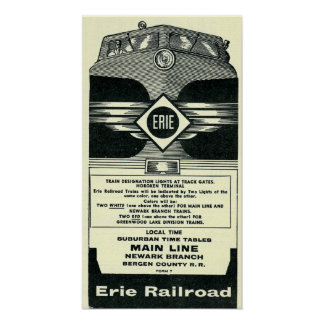 Erie Railroad Suburban Time Tables Cover 1958 Poster