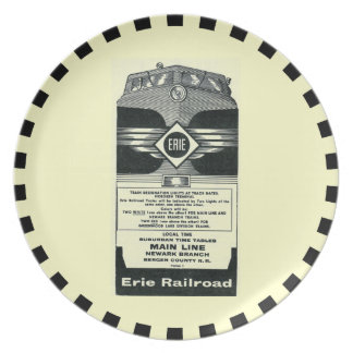 Erie Railroad Suburban TimeTables Cover 1958 Party Plate
