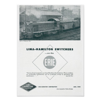 Erie Railroad Uses Lima Hamilton Diesels Poster