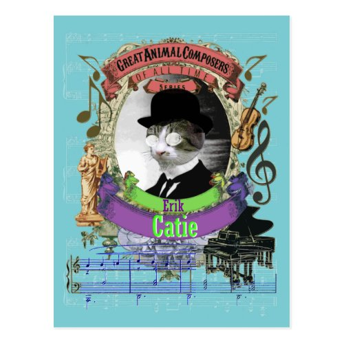 Erik Catie Cat Animal Composer Satie Spoof Postcard