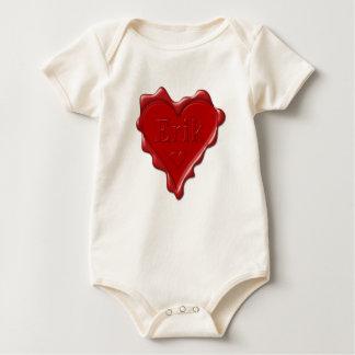 Erik. Red heart wax seal with name Erik Baby Bodysuit